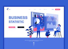 Concepto de plantilla de diseño de página web plana moderna de estadística empresarial