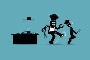 Robot chef kicks away a human chef from doing his job at kitchen.