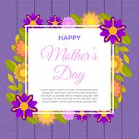 Flat Cute Happy Mother's Day Vector Illustration