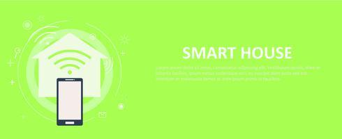 Banner di casa intelligente. Illustrazione piatta vettoriale