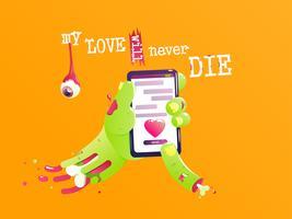 La mano de un zombie con hueso y sangre envía un mensaje de amor. San Valentín divertido. Mi amor nunca morirá. Ilustración vectorial de dibujos animados