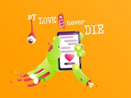The hand of a zombie with a bone and blood send a love message. Funny valentine. My love will never die. Vector cartoon illustration