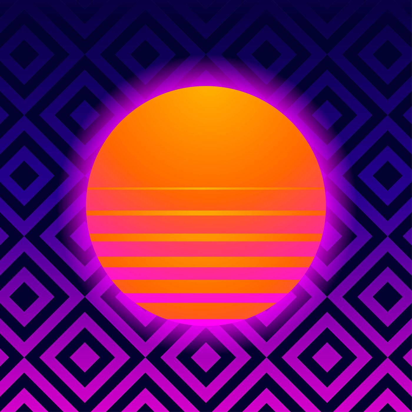 Retro Background Geometric With Vaporwave Sun Download Free