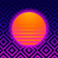 Retro sfondo geometrico con Vaporwave Sun