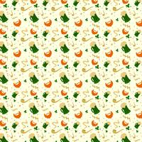 Cute St. Patrick's Day Pattern With Beer, Pipe, Leaves And Orange Beard