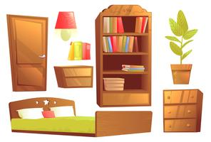 Modern furniture for bedroom interior design. Vector cartoon illustration set