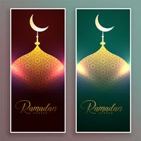 glowing mosque banner design for ramadan season