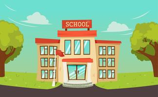 Welcome back to school banner. Street with educational building exterior and green tree. Vector cartoon illustration