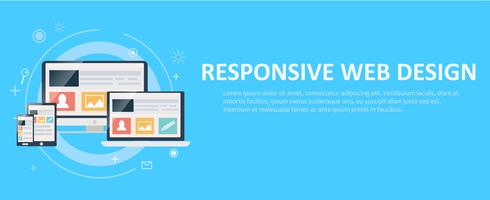 Responsive web design, including laptop, desktop, tablet and mobile phone. Vector flat illustration