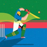 Bateador jugador de críquet de acción