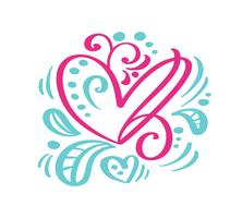 Skandinavisches Vektorherz der Weinlesehandzeichnung für Valentinsgruß-Tag. Für Kunstvorlagenentwurfslistenseite, Modellbroschürenart, Bannerideenabdeckung, Broschürendruckflieger, Plakat