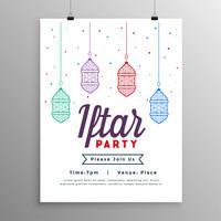 Plantilla de fiesta de invitación de comida iftar