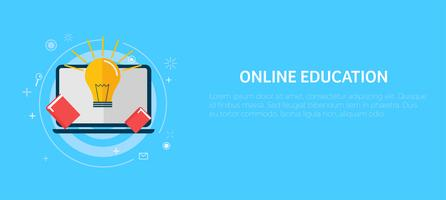 Online education banner. Vector flat illustration