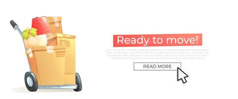 Prêt à passer au nouveau concept de bannière de maison. La boîte et les meubles sont des manèges pour le jour du déménagement. Illustration de dessin animé de vecteur