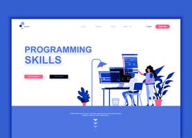 Modern flat web page design template concept of Programming Skills