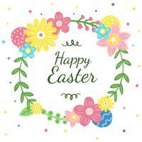 Couronne florale mignonne avec des oeufs à la saison de Pâques