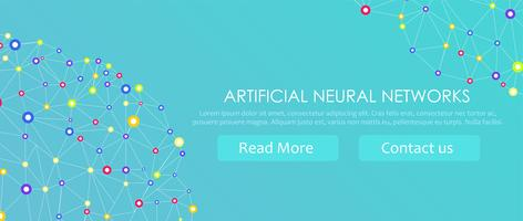 Artificial neural networks banner. A form of connectionism ANNs. Computing systems inspired by the biological neural networks. Vector illustration