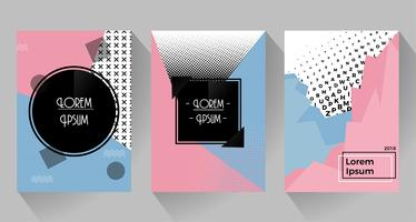 Vector abstract retro design of posters and flyers. Pink and blue tone with halftone.