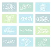 Set Merry Christmas vector text Calligraphic Lettering design card template. Creative typography for Holiday Greeting Gift Poster. Calligraphy Font style Banner