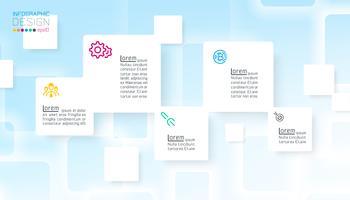 Kvadratisk infographics på blå abstrakt bakgrund