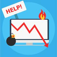 """Computer on fire with """"Help"""" sign & bomb with lit fuse"""