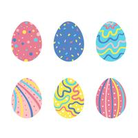 Cute Colorful Easter Eggs Set Collection