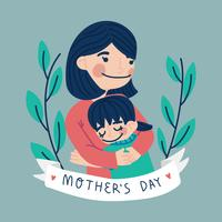Cute Mother and Daughter vector