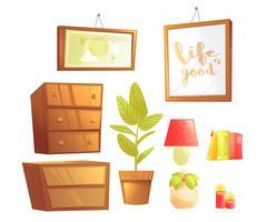 Muebles modernos para elementos de diseño de interiores de dormitorios. Vector ilustración de dibujos animados conjunto
