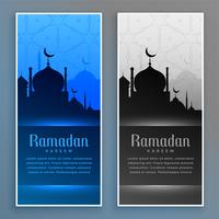 beautiful ramadan banners set with mosque