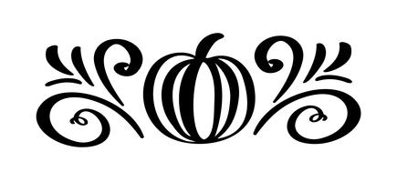 Pumpkin vegetable hand drawn floral autumn design elements isolated on white background for retro design. Vector calligraphy and lettering illustration