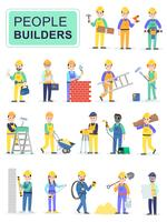 Set of people builders workers