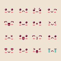 Caras lindas de dibujos animados vector