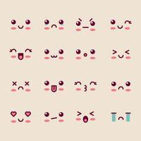 Caras lindas de dibujos animados