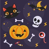 Netter Satz Gegenstände für Halloween. Katze, Kürbis, Süßigkeiten, Augen, Schläger. Flache Vektorillustration