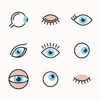 Outlined Set Of Eyes vector