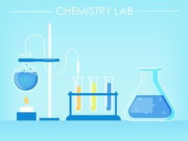 Banner de laboratorio de química. Tubos de ensayo, experimentos, fuego. Vector ilustración plana
