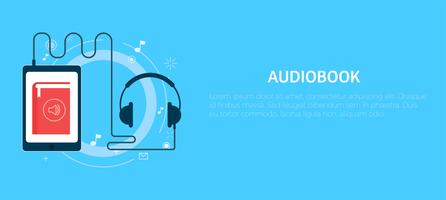 Banner audiobook online. Illustrazione piatta vettoriale