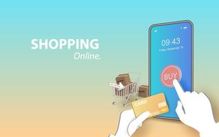 illustration of shopping online  on Mobile Application Vector