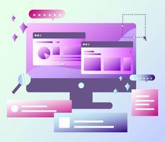Skrivbord med grafisk design programvara vektor