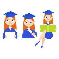 Conjunto. Un estudiante graduado con un diploma. Vector ilustración plana
