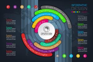 Geschäft Infographics-Kreisorigami mit Schattenart Vektorillustration.