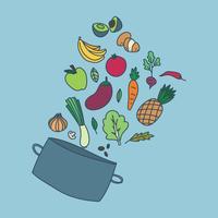Hälsosam mat inne i en kruka