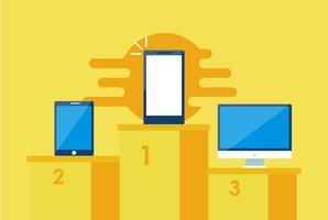 Primer banner de estrategia móvil. Teléfono con laptop y otro. Vector ilustración plana