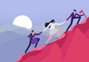 Climbing Company Goals Vector Flat Illustration