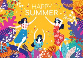 People Enjoying Summer wirh Flowers Border Vector