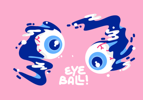 Cool Splashing Eyeball Cartoon vector Illustration