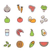 Outlined Healthy Food Icons vector