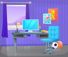 Interior design della stanza del ragazzo dell'adolescente