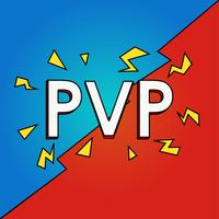 Player vs Player strips concept. PvP game online. Vector platte ilustration