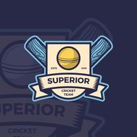 Modèle de Vector Logo emblème de cricket plat Vintage
